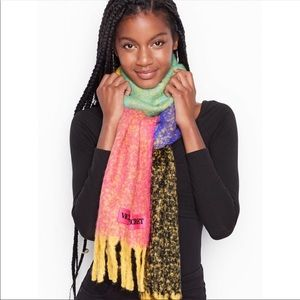 New Victoria's Secret Fringe Cozy Colorblock Scarf